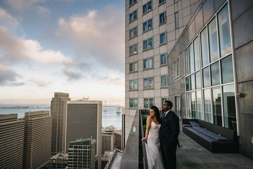 Newlyweds at the rooftop