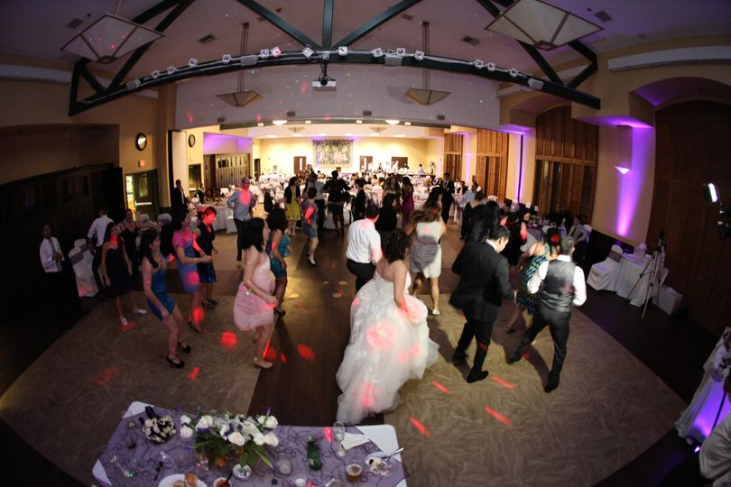 """Great pic of the Bride, Groom, & guests dancing to the Mexican line dance classic, """"No Rompas Mi..."""