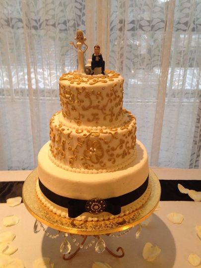 Wedding cake with black ribbon
