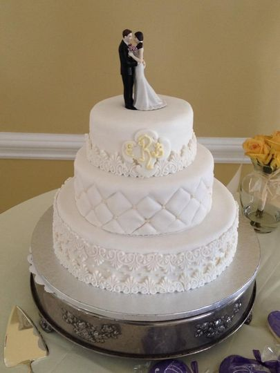 All white wedding cake with figurines