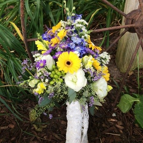 Tmx 1416537003344 Bouquet Of Purple Orange And Yellow Flowers Portage, Michigan wedding florist