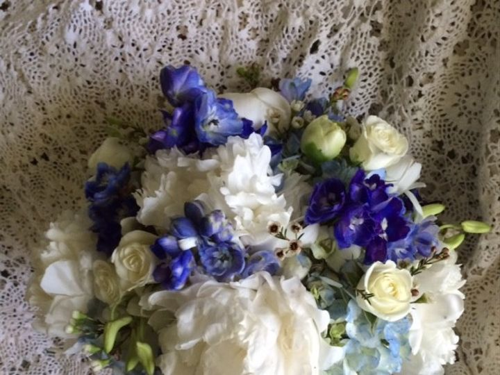 Tmx 1416540792199 White Peonies Roses And Blue Delphinium Portage, Michigan wedding florist