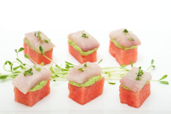 Hamachi Sushi with Avocado Creme