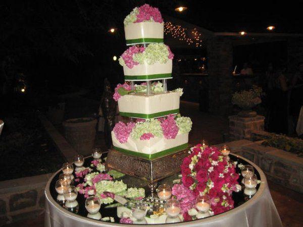 4 tier fuschia/lime green wedding cake