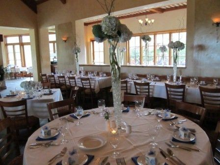 French country rustic wedding style table setting with hydrangea