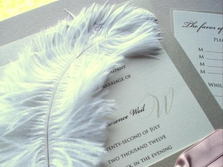 Tmx 1394752138484 Feathered Wedding Invitation With Pink Ribboncreat Miami, FL wedding invitation