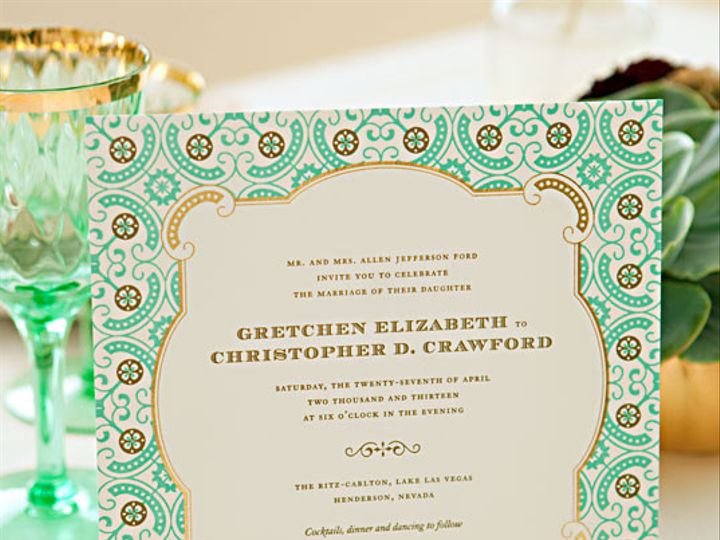 Tmx 1394752144941 Gallerylarkspurmint And Gold Letterpress Wedding I Miami, FL wedding invitation