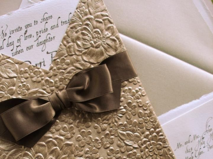 Tmx 1394752148861 Gold Embossed Wedding Invitation With Ribboncreati Miami, FL wedding invitation