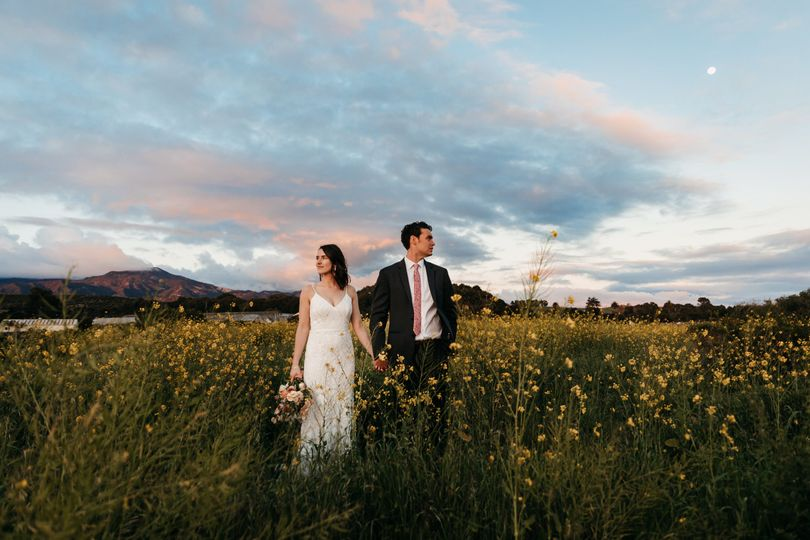Newlyweds under a soaring sky