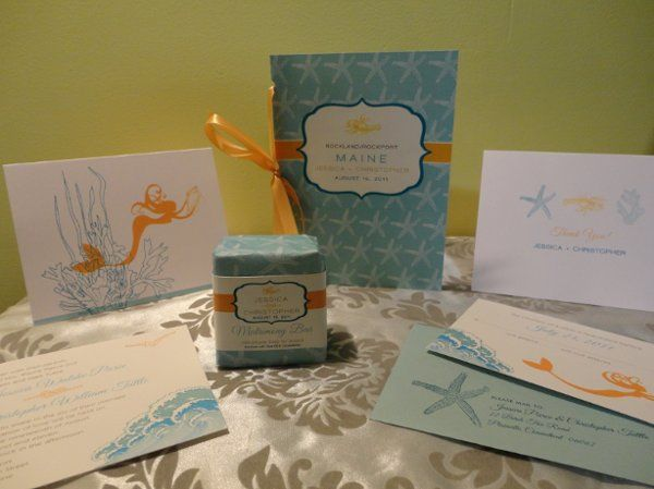 Destination beach front wedding ensemble includes Invitation, response set, note cards and custom...