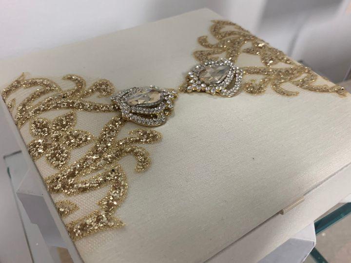 Gold + Ivory Silk Box Invite