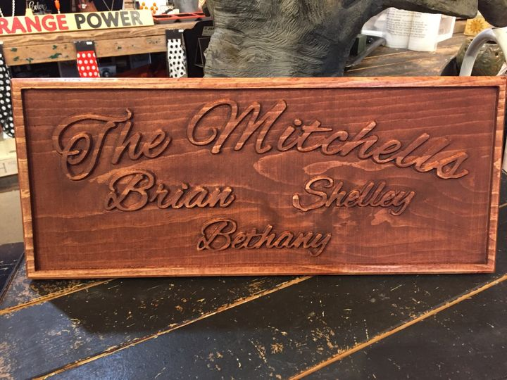 Family name with family members listed. . . .all embossed. . . one color or can be made with...