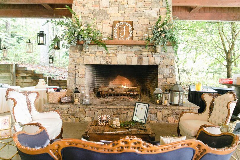 sunset pavilion furniture fireplace