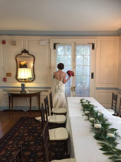 Bride by the head table