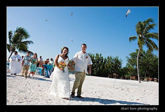 Bride and groom on the beach in Islamorada, Florida, near Key Largo in the Florida Keys