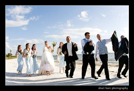 Bride and groom and bridal party  on the beach in Fort Myers, Florida