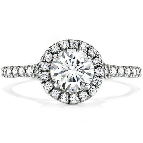 Hearts on Fire Transcend halo brilliant cut diamond 18K white gold engagement ring.  Show-stopping...