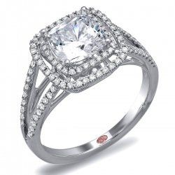 Demarco double halo cushion cut diamond 18K white gold engagement ring.  Spectacular and...