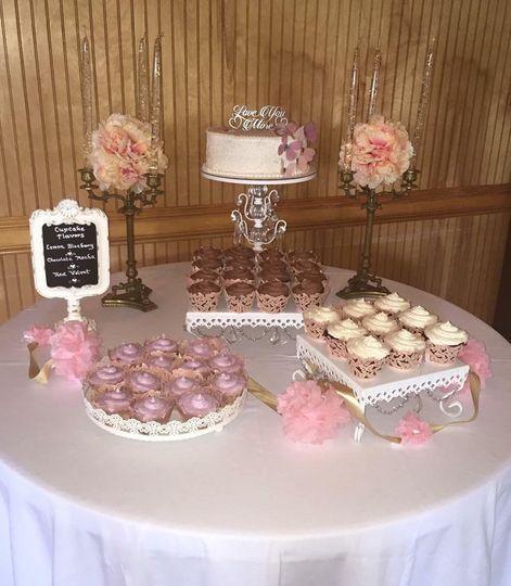 Cutting cake w/ cupcake displa