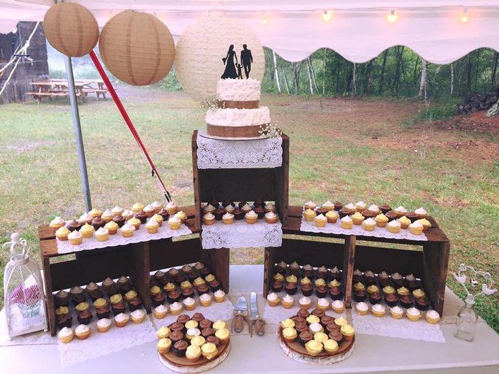 Rustic display w/ mini cupcake