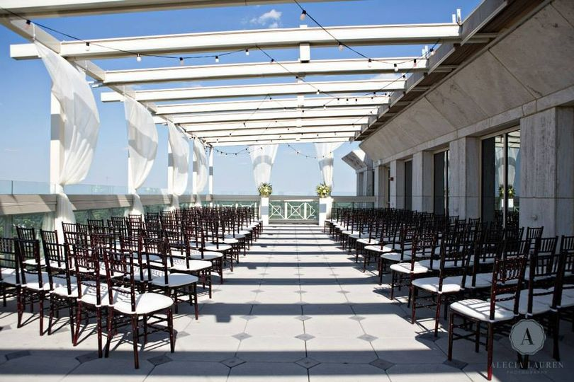 Rooftop wedding setup