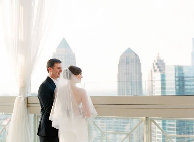 Newlyweds overlooking the city