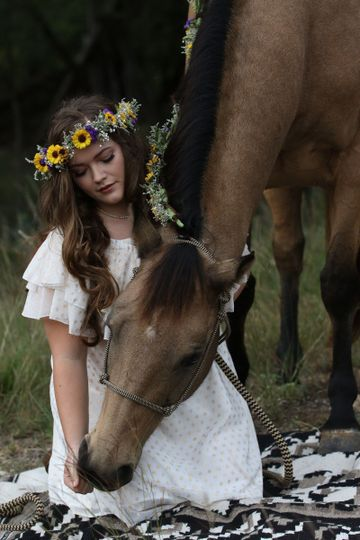 Bride petting the horse