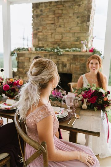 Bride and bridesmaid | Lauren Rae Photography Event Planning & Design: The Perfect PaletteFloral...