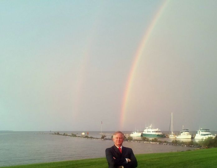 jim with double rainbow at herring bay