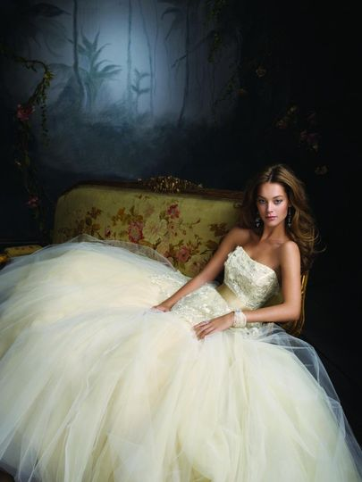 Style:LZ3114 Buttercup tulle ball bridal gown, sweetheart neckline, sheer chantilly lace...