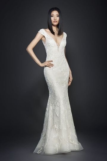 Style 3707		Ivory hand beaded and embroidered net over cashmere chiffon trumpet bridal gown,...