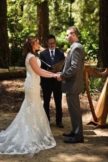 Rick Tan Harp and Officiant T. Elliott Weier Redwood Grove, UC Davis Artisan Wedding Photography