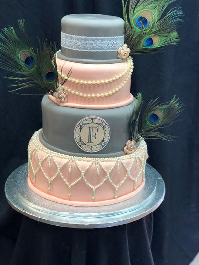 Elegant peach and greyish blue cake
