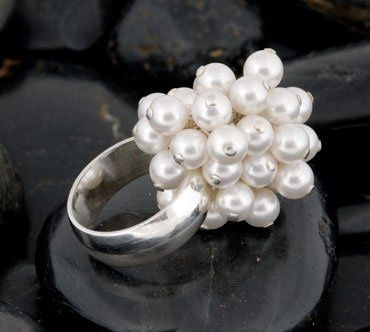Diana simple elegance of white classic pearls.