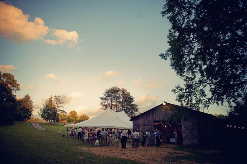 Guests crowding the barn