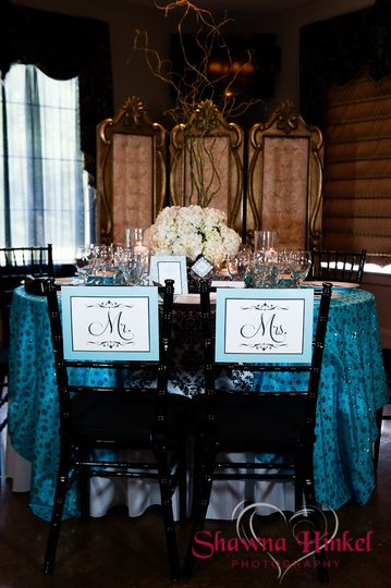 Turquoise, white and black. Chair signs for the bride and groom.