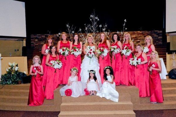 Ashley and her bridal party at her wedding. All Makeup By DeLaney