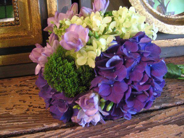 hydrangea, freesia and trachelium