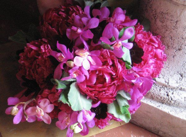 peonies, orchids and chocolate cosmos