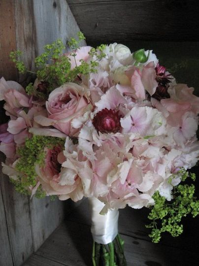 summer pinks -- hydrangea, garden roses and straw flowers
