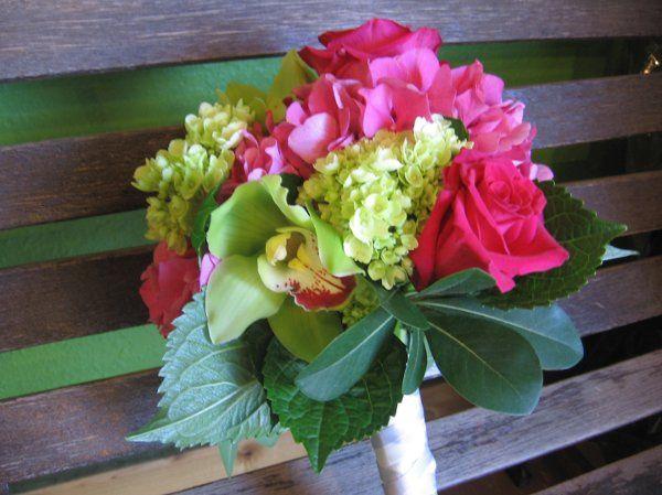 fuscia hydrangea and roses, mini green hydrangea and chartreuse cymbidium blooms