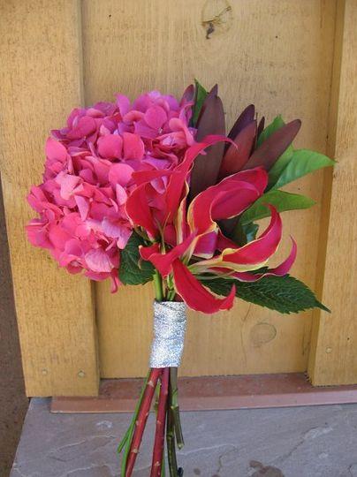Fall Pinks -- fuscia hydrangea, gloriosas and leucadendron
