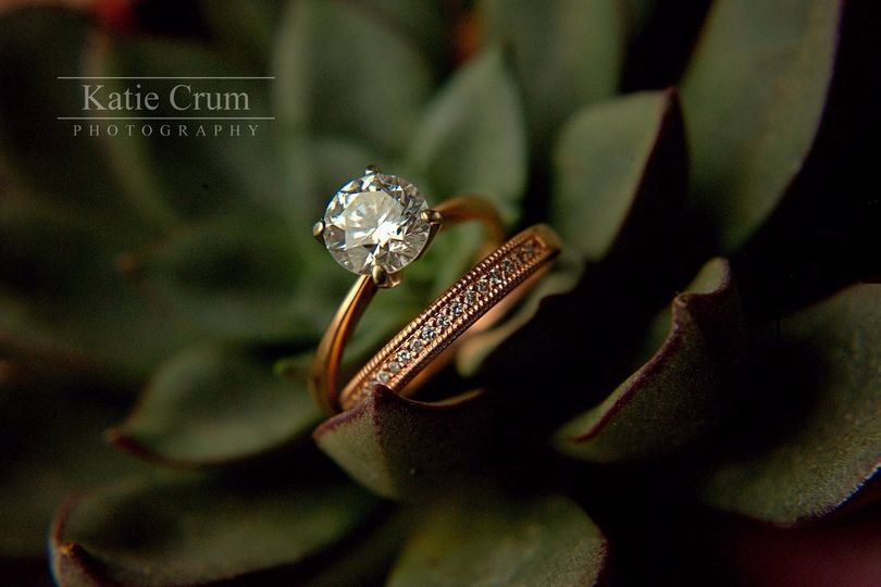 Ring set among leaves