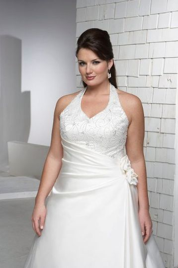 Aurora D Paradiso 7440 Flattering halter gown with wrap waist. 