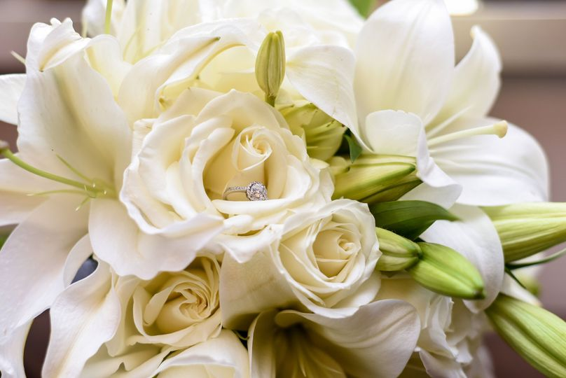Closeup of bouquet and ring