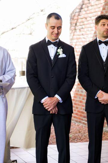 An emotional groom