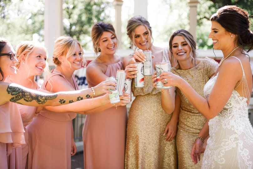 Bridesmaids cheering