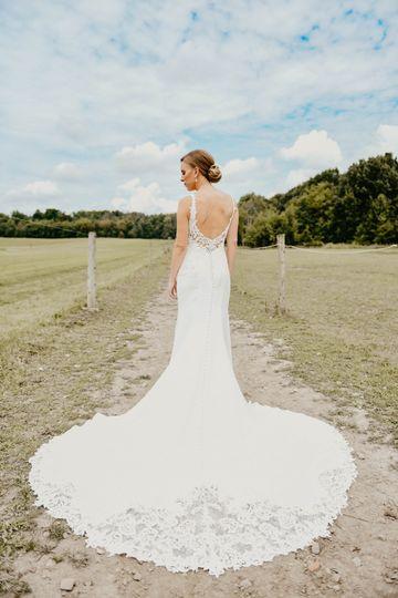 A flowing wedding dress