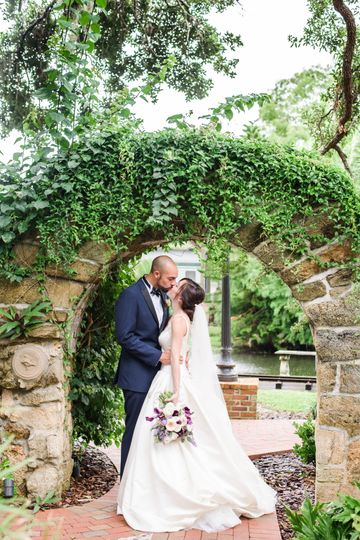 Kissing under the brick arch