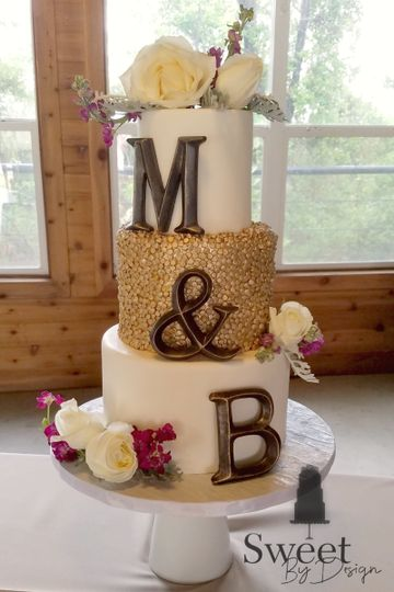 Gold sequin wedding cake by sweet by design in melissa, tx